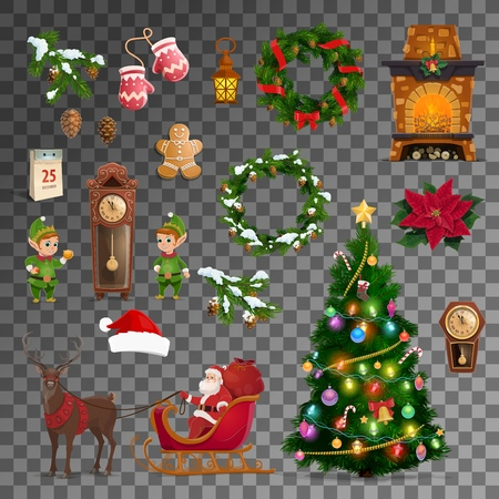 Christmas and New Year celebration vector symbols. Merry Xmas tree, Santa reindeer sleigh with gifts, gnome at eve clock and Christmas wreath, calendar and clock with fireplace, gingerbread cookie
