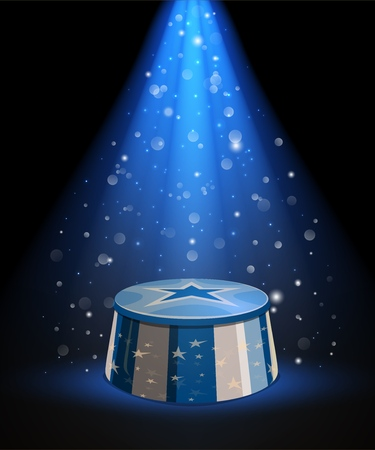Circus arena stand or top tent stage, vector. Empty platform of ringmaster podium or pedestal with stars an blue white strips in bright spotlight rays. Carnival performance and entertainment