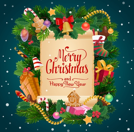 Merry Christmas winter holiday and Happy New Year celebration wish on paper scroll. Vector Xmas tree wreath decorations Santa gifts sock, firecracker and holly or gingerbread cookie biscuit in tinsel