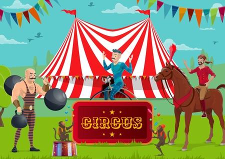 Big Top Zirkus und Kirmes, Darsteller und Tiere. Vektorstarker Mann mit Gewicht und Hantel, Akrobat auf Einrad und Reiter auf Pferd, Affenjongleure. Gestreiftes Zelt und Girlanden, Unterhaltung Vektorgrafik
