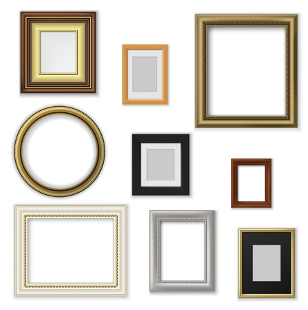Wall pictures and photo frames, square and round shape. Vector border of wood and plastic, interior design decor elements. Blank space for photography or artwork, house adornment Foto de archivo - 127471796