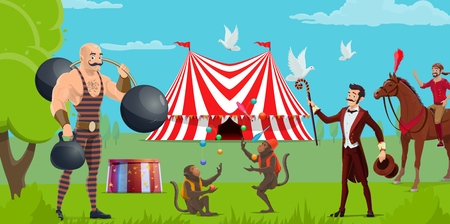 Circus show, tent and funfair, performers and trained animals. Vector strongman with weight and dumbbell, monkeys jugglers and equestrian on horse. Magician with dove, tricks and performance Illustration