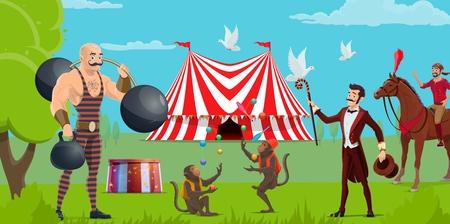 Zirkusshow, Zelt und Kirmes, Darsteller und trainierte Tiere. Vector Strongman mit Gewicht und Hantel, Affenjongleure und Reiter auf Pferd. Zauberer mit Taube, Tricks und Leistung Vektorgrafik