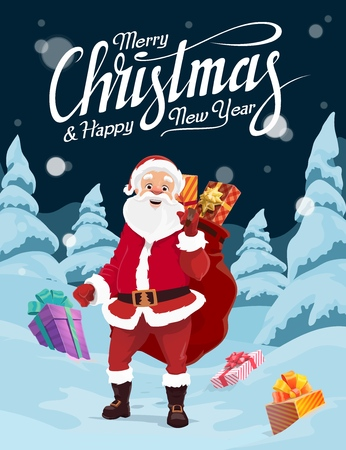 Santa Claus carrying Christmas gifts in red bag, vector greeting card. Present boxes in snow, winter forest, snowy tree and falling snowflake. Christmas and New Year holidays design