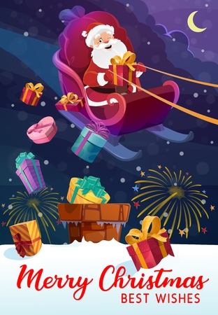 Santa Claus on sleigh, bag or sack full of Christmas presents, Xmas gifts delivery. House roof and chimney, fireworks in night sky and moon. Noel fairy landscape, New Year holiday card, magic Zdjęcie Seryjne - 127471798