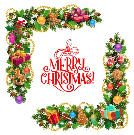 Christmas corner frame of Xmas tree and holly garland, vector design. Pine and fir frame border, decorated with gift and present boxes, stocking, candy and balls. Winter holiday greeting card Illusztráció