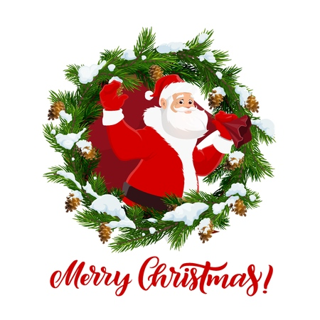 Merry Christmas holiday, Santa Claus and fir wreath. Vector cones and snow, fairy character, winter holiday greeting, celebration and congratulation. Man with beard and gifts sack, mitten and coat