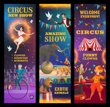 Zirkusshow, Vektoreinladung zu einer erstaunlichen Leistung von Clown, trainierten Tieren und Zauberern, Jongleuren, Akrobaten und Einradfahrern. Chapiteau-Darsteller auf der obersten Zeltarena, Karnevals-Willkommensbanner