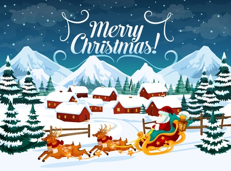 Christmas vector greetings with Santa Claus and harness with deers. Town surrounded with fir forest and mountains at night. Winter holiday landscape poster with wishes, xmas postcard