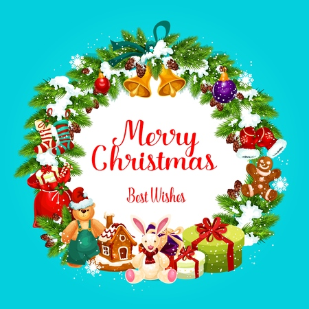 Christmas holiday greeting card with fir wreath and snow, vector. Jingle bells and gift box, toys and gingerbread house, decorations for Xmas tree and socks. Sack of presents and snowflakes