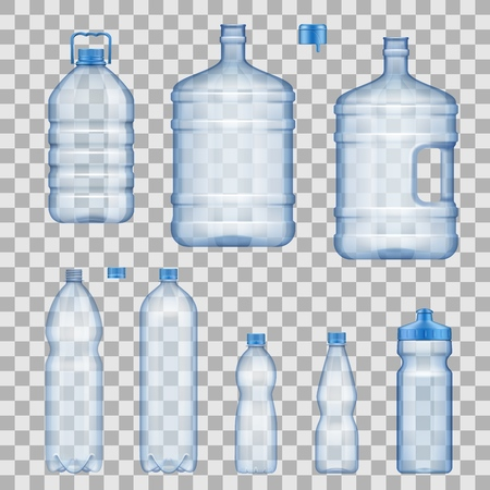 Water bottles, capacious and portable, sportive with dispenser. Realistic vector empty plastic containers with covers, vessels mockups. Liquids package, isolated on transparent background