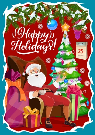 Christmas winter holidays greetings, Santa Claus in armchair with cup of tea. Vector Xmas tree in garland and gift sack, present box, calendar and snowflakes. Toys and decorations, holiday celebration