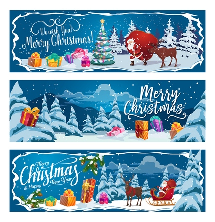 Santa Claus with Christmas sleigh, gift bag and reindeer in winter holidays forest. Xmas tree and New Year presents in snow with ribbon bow, ball and star, candy, lights and snowflake. Vector banners