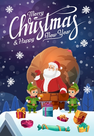 Santa Claus on roof in chimney, sack of Christmas gifts and gnomes. Vector present boxes with bow, winter holiday greeting card, fairy characters. Xmas presents delivery, Noel or New Year, snowflakes Ilustracja