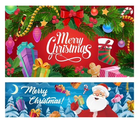 Merry Christmas winter holiday celebration wish banners. Vector Xmas tree decorations, Santa and gifts in stocking sock, holly and gingerbread cookie biscuit with candy canes and snow tinsel