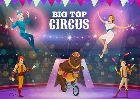 Große Top-Zirkusshow mit Tiertrainer-, Akrobaten- und Jongleuraufführungen. Vektor-Luftakrobaten, die Tricks in Luftringen ausführen, Bären, die Fahrrad fahren, und Darsteller, die mit Bällen und Keulen auf der Arena jonglieren