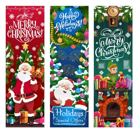 Christmas sale special offer vector banners with Santa, Xmas tree and gifts, fireplace, stockings and elf, present boxes, star and snowflake, candy, balls and snow. Winter holidays