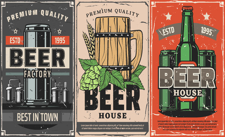 Brewery factory, vector craft or draught beer in wooden mug, bottle or can. Hop, malt and wheat low alcohol drink production, industrial or homemade product. For beer pub or restaurant design
