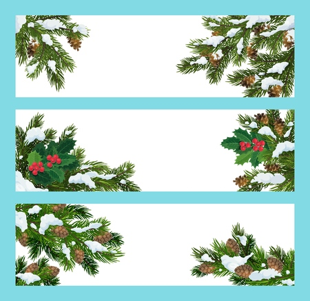 Christmas tree, snow and holly berry vector banners. Pine, fir and spruce green branches with snow and pine cones. Winter holidays greeting cards with copyspace