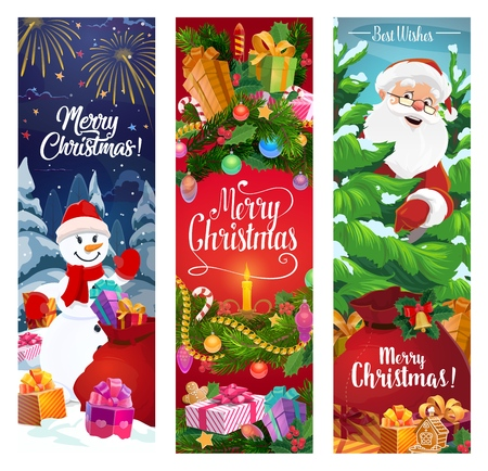 Vector Santa, snowman and Christmas wreath with gifts, Xmas tree and present boxes, bell, holly and candle, ribbon bow, stars and snow, candy and gingerbread. Merry Christmas greeting banners Stock Illustratie