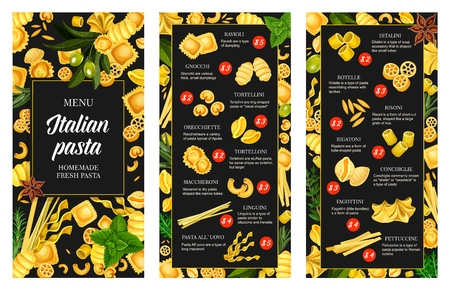 Italian pasta menu, seasonings and spice. Vector ravioli and gnocchi, tortellini, orecchiette and tortelloni, maccheroni pasta. Linguini and ditalini, rotelle and risoni, rigatoni and conchiglie