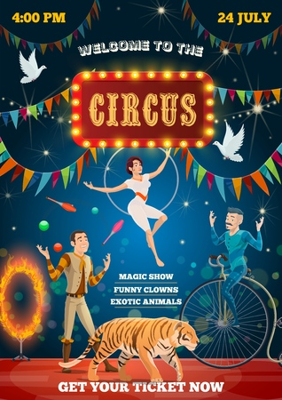 Circus show performance poster, animal tamer, equilibrist and acrobat. Vector retro bit top circus juggler with pins on unicycle, tiger and fire ring, equilibrist on aerial hoop and doves