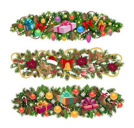 Christmas wreath border ornaments and winter holiday decorations on Xmas tree garland. Vector Santa gifts, golden tinsel and snowflakes with mittens and winter sock stocking or ginger cookie Illustration