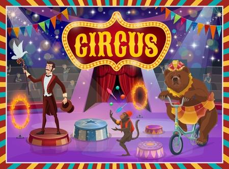 Cartel de vector de espectáculo de circo, ilusionista de truco, domador de animales y acróbatas. Vector letrero retro de circo de gran carpa, mago de rendimiento con palo y sombrero, mono malabares y oso en bicicleta