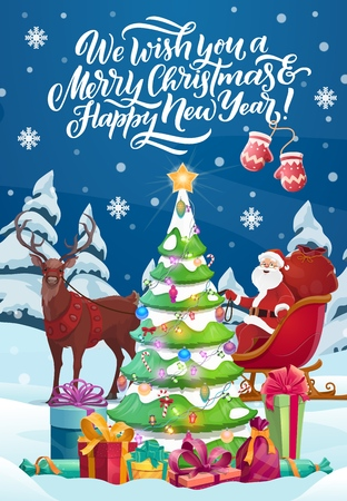 Merry Christmas and Happy New Year winter holiday celebration. Vector Santa with gifts bag on sleigh and reindeer decorating Xmas tree in winter forest with falling snowflakes pattern Foto de archivo - 127471833