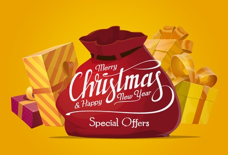 Christmas gifts sale offer with Santa Claus red bag and present boxes, golden ribbon and bow. Xmas and New Year winter holidays seasonal sale poster and special price promotion, vector design Ilustração