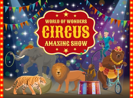 Big top circus show, trained animals and acrobat, performance. Vector tiger and lion, bear on bicycle and monkey juggler, elephant on ball with hoop. Man in costume on unicycle, arena or stage Vettoriali