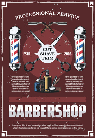 Male salon barbershop vector retro poster with tools to trim, shave and cut. Scissors and cologne perfume, razor and shaving brush, haircut and beard styling. Hipster barber service, vintage design