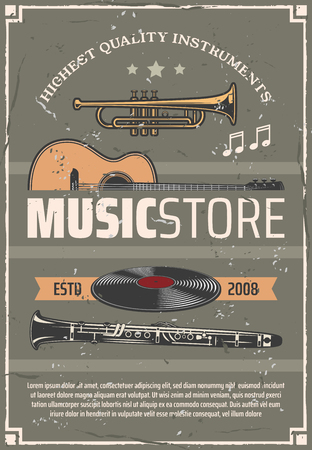 Music store retro vector poster, musical wind and string instruments, old vinyl discs. Trumpet and acoustic guitar, flute and note vintage design. Shop for musicians, musical devices