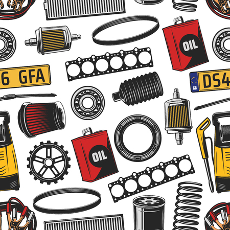 Vehicle service seamless pattern, car spare parts and fuel canister, oli filter and spring, vacuum cleaner, engine details and numbers. Vehicle and transportation items, endless texture Ilustracja