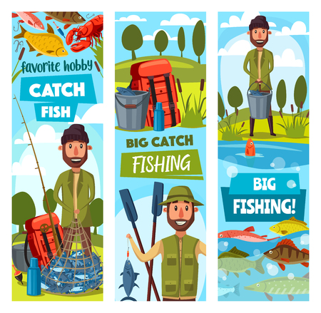 Fisherman and ammunition, fishing sport. Fisher with rod and paddles, hook and bait, carp and trout, herring and salmon, lobster and pike. Camping equipment of backpack and kettle, net full of fish