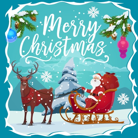 Santa Claus on reindeer sleigh with Christmas gifts red bag greeting card in frame of Xmas tree branch, snow, balls and snowflake. Merry Christmas and Happy New Year winter holidays vector theme