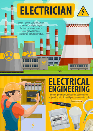 Electrician profession, electrical engineering and energetics. Electricity generation and power plants in vector. Voltmeter and battery, light bulb and cable, man in helmet fixing electric meter Stock Illustratie