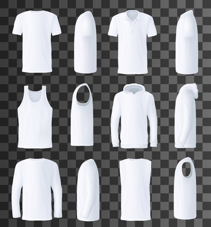 Front and side view men clothes, vector. T-shirt and polo, singlet and hoodie, sweatshirt and sleeveless shirt. Male basic garments for hot and cold weather, isolated objects on transparent Stock Vector - 112718442
