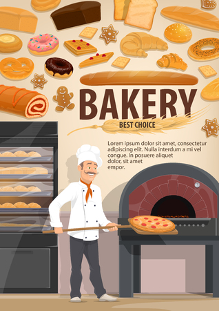 Bakery with bread and pastry products, baker putting pizza in stove. Donut and gingerbread cookie, bun and cracker, roll with jam and baguette, waffle and pretzel, croissant and wheat Illustration