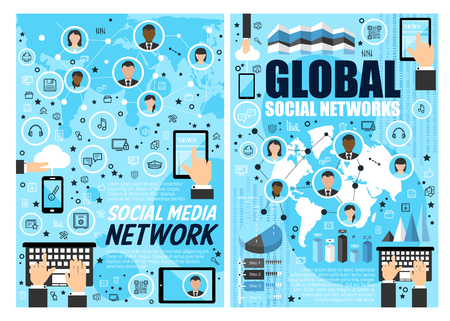 Social media and global network, internet business technology concept. Social media and digital marketing research poster with computer and mobile phone, cloud and map, tablet and keyboard flt icons Illustration