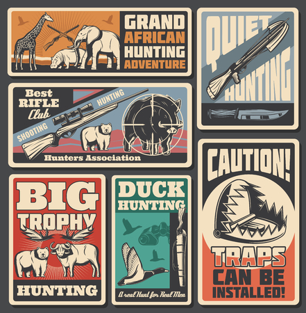 Animals and weapon of hunting sport retro vector posters. African safari and forest mammals, rifle and crossbow, knife or trap. Elephant and giraffe, duck and boar, buffalo and hippo, outdoor activity