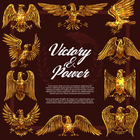 Eagle or hawk as heraldic symbol of victory and power in frame. Golden vector mascot and legendary beast or creature symbolizing strength and nobility. Mythical birds with golden plumage Illustration
