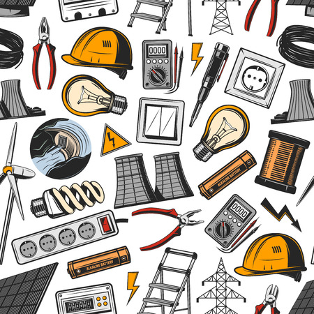 Electricity and energetics vector seamless pattern. Helmet and light bulb, socket and switch, wire and voltmeter, hydro or wind power plant, solar battery and ladder. Electrical tools and generation
