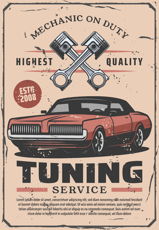 Tuning service, vector retro design. Mechanic on duty, car diagnostic and repair service of gasoline engine parts, wheel and spanner, pistons or porcer vintage brochure. Garage station maintenance