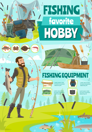 Fishing sport, vector. Fisher fishing with rod at river or lake shore. Cartoon vector man in rubber boots near tent camp with pike and salmon, trout and perch, catfish and herring vector