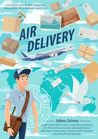 Post mail air delivery, postage logistics. Vector postman or mailman delivering letters, envelopes and parcels. Airplane or liner, postal dove and postcard, world map silhouette