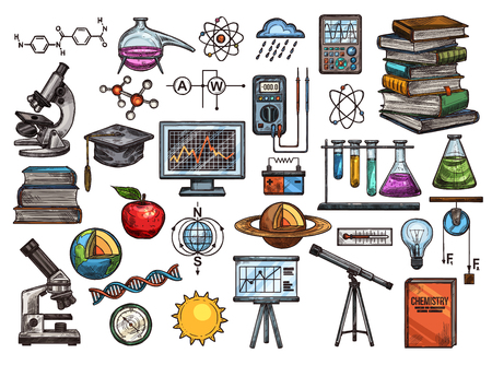 Vector education and science sketch icons. Chemical formula and flasks, books and microscope, student hat and monitor, globe and planet, DNA and compass, voltmeter and atom, light bulb and molecule