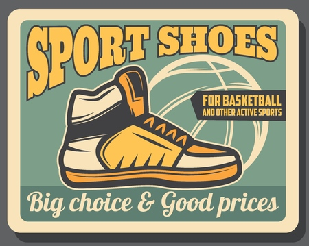 Basketball sportswear shop retro vector poster, sport sneaker shoes. Footwear store with choice of training sneakers. Ball silhouette, leather trainers with laces, high model, active lifestyle boots