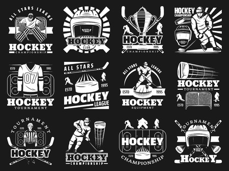 Ice hockey icons with players and sport items. Helmet and stick, puck and shirt with number, trophy cup and referee, gates and sportsman on skates. Team game tournament, championship symbols