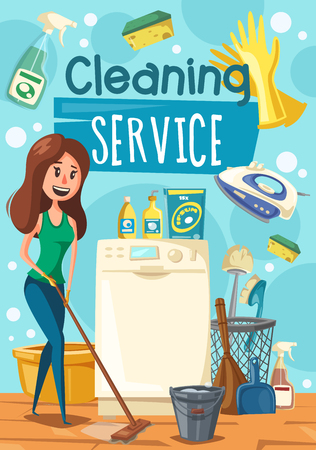 House cleaning work, woman mopping a floor. Vector household appliance and duster brush, bucket and detergent soap or glass polisher. Washing machine and electric iron, broom and scoop Illusztráció